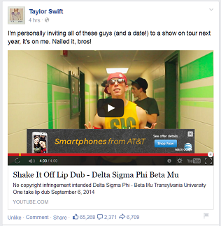 Taylor Swift Likes Frat Lip Sync to Shake It Off!